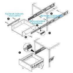 1-15 Pairs Soft-Close Full Extension Ball Bearing Drawer Slides Mount 10-24