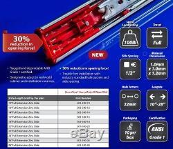(10 Pairs) 10-28 MPJ HR Soft Close Drawer Slides, Ball Bearing, Full Extension