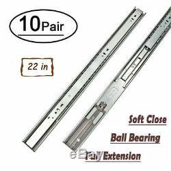 10 Pairs 22 Full Extension Drawer Slides Soft Close Ball Bearing Drawer Slides