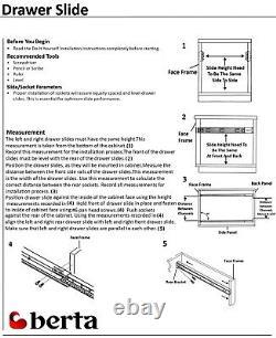 10 Pairs Full Extension 100-lb Ball Bearing Drawer Slides 20 with Rear Bracket