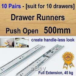 10 pairs push open ball bearing drawer runners / Slides Kitchen Vanity 500mm