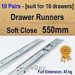 10 pairs soft close ball bearing drawer runners / Slides Kitchen Vanity 550mm