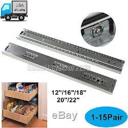 12-22 Ball Bearing Full Extention Drawer Slide Side Mount 3Section Sliding Rail