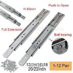 12-22in Push to open Full Extension Drawer Slides Ball Bearing Side Mount Runner