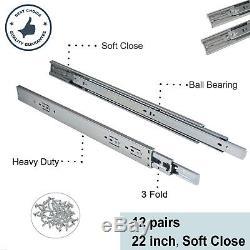 12 Pairs Soft Close Ball Bearing Drawer Slides Full Extension Side Mount 22