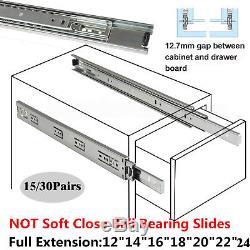 15/30 Pairs Full Extension 100-lb Ball Bearing Drawer Slides Slider 10-24 TO