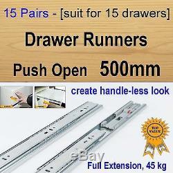 15 pairs push open ball bearing drawer runners / Slides Kitchen Vanity 500mm