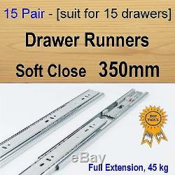 15 pairs soft close ball bearing drawer runners / Slides Kitchen Vanity 350mm