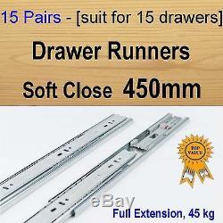 15 pairs soft close ball bearing drawer runners / Slides Kitchen Vanity 450mm