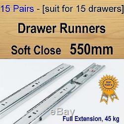 15 pairs soft close ball bearing drawer runners / Slides Kitchen Vanity 550mm