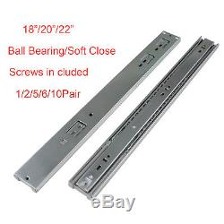 18 20 22 Ball Bearing Soft Close Drawer Slides Glides with/without Brackets