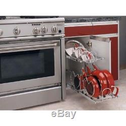 18 In Pull-Out 2-Tier Base Cabinet Kitchen Cookware Organizer Ball-Bearing Slide