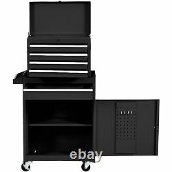 2 in 1 Utility Rolling Tool Organize Cabinet Box Tool Chest Sliding Drawer Black