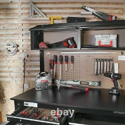 2-in-1 Workbench Cabinet Combo With Work Light 48in Rust Resistant Tool Storage