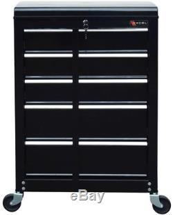 22-In Ball Bearing Slide 5-Drawer Roller Cabinet Tool Storage Box Chest Black