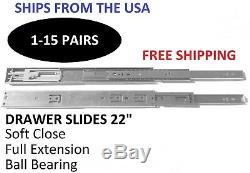 22 Soft Close Cabinet Drawer Slides Full Extension Ball Bearing Pairs 100lb