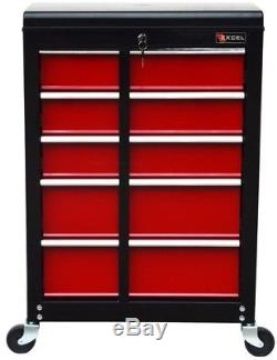 22 in. Ball Bearing Slide 5-Drawer Roller Cabinet Tool Chest Storage Black Red