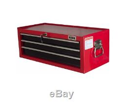 26 in 3-Drawer Intermediate Chest in Red Sturdy Construction Ball Bearing Slides