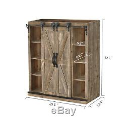 32H Farmhouse Solid Wood Brown Storage Cabinet with Two Sliding Barn doors