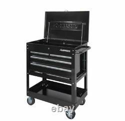 33 4-Drawer Mechanics Tool Utility Cart Garage Storage Organizer in Gloss Black
