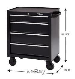 4 Drawer Rolling Tool Cabinet w Ball Bearing Slides Tool Storage Chest Key Lock