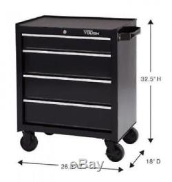 4 Drawer Rolling Tool Cabinet w Ball Bearing Slides Tool Storage Chest Key Lock