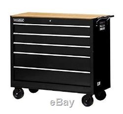 42 in. 5-Drawer Ball Bearing Slides Roller Cabinet with Hard Wood Top in Black