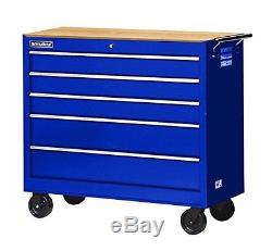 42 in. 5-Drawer Ball Bearing Slides Roller Cabinet with Hard Wood Top in Blue