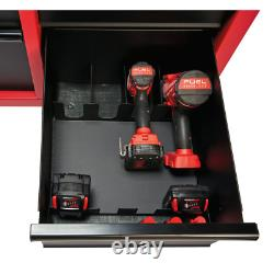 46 In. 16-Drawer Steel Tool Chest And Rolling Cabinet Set, Textured Red And Blac