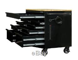 46 in. W x 24.5 in. D 9-Drawer Mobile Workbench with Solid Wood Top in All Black