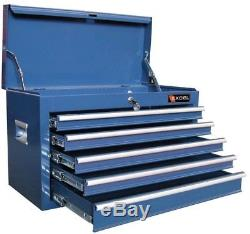 5 Drawer Steel Top Chest Blue Ball Bearing Slides Garage Tool Storage Organizer