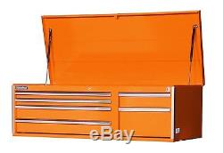 56-Inch 6 Drawer Orange Tool Cabinet with Heavy Duty Ball Bearing Drawer Slides