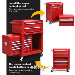 6-Drawer Rolling Tool Chest Storage Cabinet Toolbox Combo Locking withRiser Red