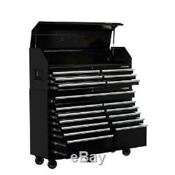 61 in. W 18-Drawer Combination Tool Chest and Rolling Cabinet Set in Gloss Black