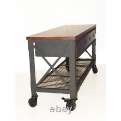 72 In. X 24 In. 3-Drawers Rolling Industrial Workbench And Wood Top Tool Chest
