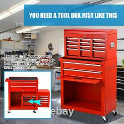 8-Drawer Rolling Tool Chest 2 in 1 Lockable Tool Box Steel Storage Cabinet Red