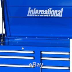 8 Drawer Top Chest Garage Tool Storage Organizer Blue Ball Bearing Slides 42 In