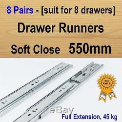 8 pairs soft close ball bearing drawer runners / Slides Kitchen Vanity 550mm