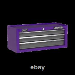 AP22309BBCP Sealey Tools 3 Drawer Mid-Box with Ball-Bearing Slides Purple/Grey