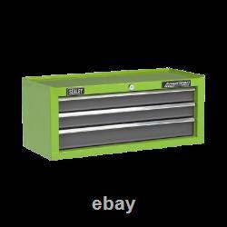 AP22309BBHV Sealey Tools 3 Drawer Mid-Box with Ball-Bearing Slides Green/Grey