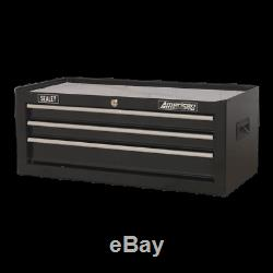 AP223B Sealey Mid-Box 3 Drawer with Ball Bearing Slides Black Tool Chests
