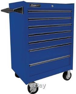 Ball Bearing Slides Homak Professional 27 in. 7-Drawer Rolling Cabinet Blue