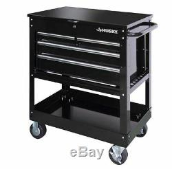 Black Metal Tool Cart Rolling Toolbox Utility Chest Storage 4 Drawer Portable
