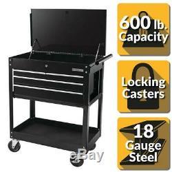 Black Roller Tool Cabinet Chest Storage 30in Lock 4-Drawer Cart Garage Workbench