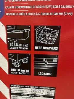 CRAFTSMAN 1000 Series 5-Drawer Ball Bearing Steel Tool Chest Toolbox COMBO NEW
