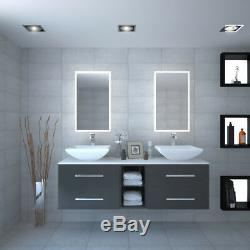 Cloakroom 1500mm Sonix grey wall vanity double sink unit with glass top and taps