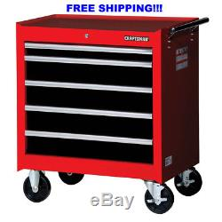 Craftsman 27 in. 5-Drawer STD DUTY Ball Bearing Slides Roller Cabinet in Red and