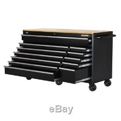 Deep Tool Chest Mobile Workbench 66 in. 12-Drawer in Gloss Black Hardwood Top