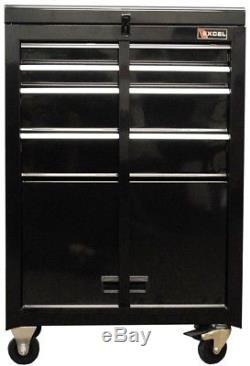 Excel 22 in. Ball Bearing Slide 4-Drawer Black Steel Roller Cabinet Tool Chest