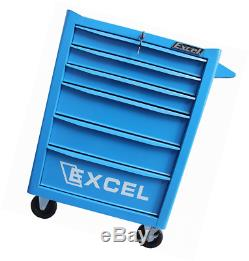 Excel 26 inch Roller cabinet with six ball bearing slide drawers, Blue